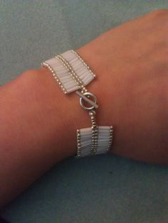 White Bugle Bead and Silver Seed Bead Bracelet with by SolRayz, $40.95