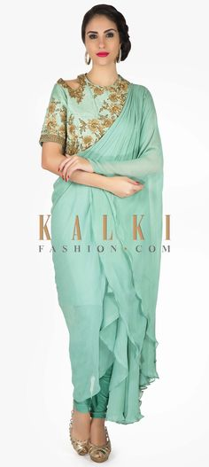 4a845f2ee88d0 Nile blue suit in georgette with fancy drape and embroidered bodice only on  Kalki