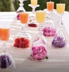 Use wineglasses for your candles. Watch this DIY and you can make it for your own tea party.