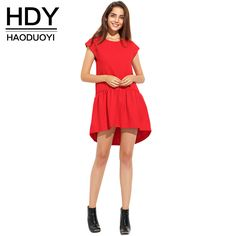 HDY Haoduoyi Womens Summer Short Sleeve Pleated Girl Mini Dress Irregular Loose O-Neck Solid Casual Party Dresses for wholesale