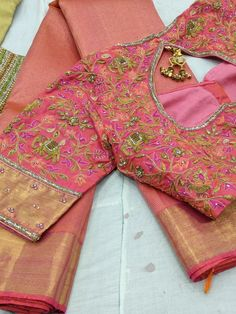 All Ethnic Customization with Hand Embroidery & beautiful Zardosi Art by Expert & Experienced Artist That reflect in Blouse , Lehenga & Sarees Designer creativity that will sunshine You & your Party Worldwide Delivery. Designer Sarees Wedding, Wedding Saree Blouse Designs, New Blouse Designs, Pattu Saree Blouse Designs, Maggam Work Designs, Sari Design, Designer Blouse Patterns, Work Blouse, Blouse Styles