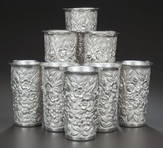 A SET OF EIGHT AMERICAN SILVER TUMBLERS, Samuel Kirk & Son,Baltimore, Maryland, circa 1910. Marks: S. KIRK & SON,STERLIN... (Total: 8 Items) Sold $4,026.50.