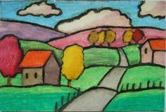 This is a folk art landscape project using oil pastels and black ink. I have a soft spot for folk art landscapes; I find they are so ch... #LandscapeEasy