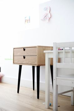Mid-century Scandinavian Side Table / Nightstand - Two Drawers And Retro Legs…