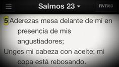 Dios hace provisión para los momentos más difíciles. En esos momentos Dios derrama bendiciones #Promesa Salmo 23:5