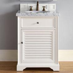 "James Martin Furniture Savannah 26"" Single Cottage White Bathroom Vanity Set Top Thickness: 4cm"