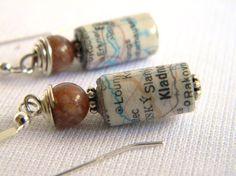 Paper Bead Jewelry - Map Atlas Earrings - #226
