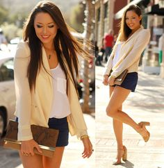 Terri, Gold Bracelet, Sheer Cream Blazer, Amethyst Necklace, Snakeskin Clutch