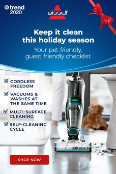 Tackle your holiday house cleaning checklist in no time with BISSELL CrossWave® Cordless Max, that vacuums up pet hair and washes away pet messes at the same time. And CrossWave Cordless Max doesn't just clean up after pets, it helps save them! BISSELL proudly supports BISSELL Pet Foundation® and its mission to help save homeless pets. When you buy a BISSELL product, you help save pets, too. We're proud to design products that help make pet messes, odors and pet homelessness disappear. House Cleaning Checklist, Diy Home Cleaning, Household Cleaning Tips, Diy Cleaning Products, Cleaning Solutions, Cleaning Hacks, Cleaning Supplies, Hells Kitchen, Vacuums