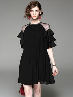 See-Through Straight Women's Day Dress
