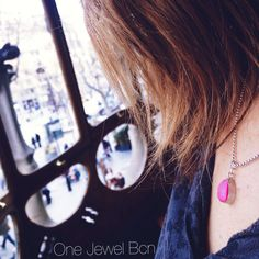 #necklace KATE de plata de ley y colgante drusa rosa en forma de lágrima. Necklace KATE of sterling silver 925 and Pink druzy