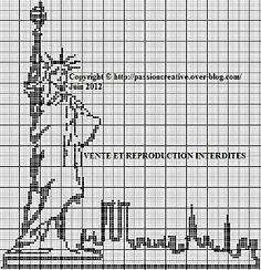 free chart cross stitch statue of liberty new york skyline