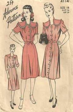 Vintage 40s Sewing Pattern Advance 4114 Womans by studioGpatterns, $14.50