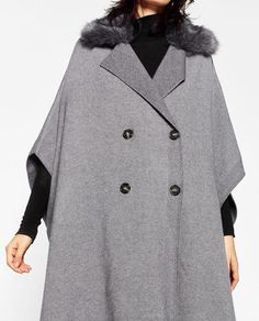 ZARA - WOMAN - CROSSOVER CAPE WITH FAUX FUR COLLAR