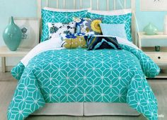 Girls Teen Bedding In Blue And White Turquoise Kids Room