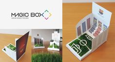 Diseño de marca para la empresa Magic box, soluciones creativas en packaging y postales del Barça y la sagrada familia