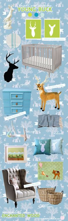 California Peach: Young Buck | Enchanted Wood Wallpaper -- Deer, Kites, Kite, Silhouette, Antler, Nature, Natural, Indie, Modern, Toddler Room, Toddler Bed, Twin Bed, Kids, Kid, Nursery, Baby Room, Baby, Nursery, Blue, Green, Grey, Brown, White, Light, Wall Paper, Wallpaper, Boy, Masculine, Art, Baby Room, Nursery, Style Board, Oeuf, Crib, Non-Toxic, Green 0VOC, Eco Friendly, Organic