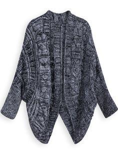 Серый Batwing длинный рукав Кабельный вязать свитер