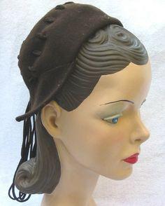 1940's Vintage Brown Felt Dutch Girl Hat with Streamers New York Creation | eBay