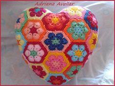 Almofada em croche Squares Flores Africana