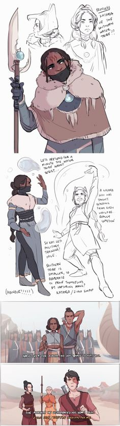 au where it was the water tribe who attacked, katara and sokka still found aang in the iceberg 100 years later, but then, kind of tried to kill him. luckily aang escaped in time to team up with a pair of plucky young fire nation siblings who ought to have inherited the throne, you know, if the water tribe hadn't laid waste to their country. mostly, i just like drawing katara in military gear, and enjoy thinking about the political intrigue of two ruling branches of the water tribe.