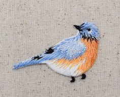 Embroidered Patch - Iron on Applique Blue Bird - Bluebird - Facing Right