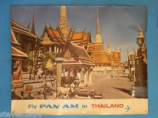 "ORIGINAL Vintage ""Fly Pan Am to Thailand"" Poster; Printed in the 1960's"