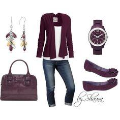 Jenna Waterfall Cardi (aubergine)/aub. shoes, bag, watch, earrings/white tee/denim capris