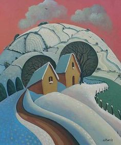 Jo MARCH - Tredinnick Barns, January  British #winter landscape art from www.redraggallery.co.uk