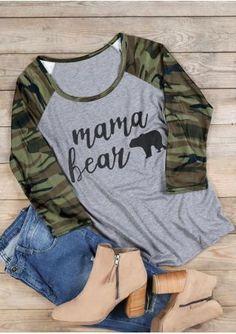 63f50e88 Mama Bear Camouflage Printed Baseball T-Shirt Mama Bear Shirt, Momma Bear,  Scout