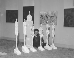 Alberto Giacometti and his sculptures at the 1956 Venice Biennale. Courtesy of the Giacometti Foundation.