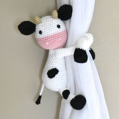 Animals curtain tie back window curtain tie back nurseryCow curtain tieback crochet PATTERN right or left cow Magnificient Options For Curtains In The Childs Room -Mucca tenda Fermatenda crochet PATTERN destra o sinistraDesign Fashion MagazBest 12 Cu Crochet For Boys, Cute Crochet, Crochet Baby, Amigurumi Patterns, Knitting Patterns, Crochet Patterns, Crochet Ideas, Crochet Gifts, Crochet Dolls