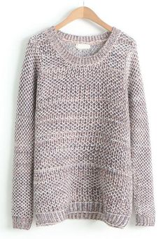 Coffee Round Neck Long Sleeve Loose Knit Sweater