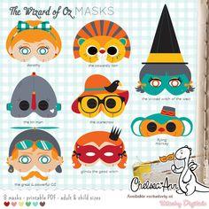 The Wizard of Oz Masks Printable via http://kitschydigitals.com