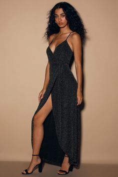 An out of this world look will be yours in the Celestial Black and Silver Wrap Maxi Dress! Sparkling silver threading dances over black knit as it shapes a wrapping bodice. Black And Silver Dress, Metallic Dress, Floral Print Maxi Dress, Maxi Wrap Dress, Glamorous Outfits, Strapless Maxi, Black Knit, Spaghetti Straps, Women's Dresses