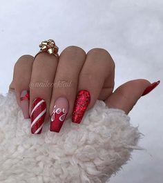 Chistmas Nails, Cute Christmas Nails, Xmas Nails, Christmas Nail Art Designs, Christmas 2019, Holiday Nails, Christmas Makeup, White Christmas, Red Glitter Nails