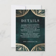Art Nouveau faux gold DETAILS insert card Evening Wedding Invitations, Wedding Invitation Sets, Wedding Cards, Invites, Honeymoon Fund, Honeymoon Gifts, Art Nouveau, Wedding Details Card, Wedding Card Design