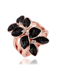 Rose Gold Black Poinsettia Zircon Statement Ring , As Shown, 1618 | VIPme