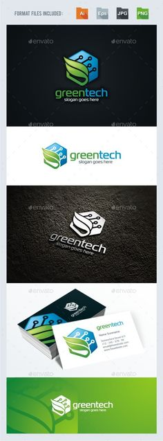 Green Leaf - Tech Logo Template Vector EPS, AI. Download here: http://graphicriver.net/item/green-leaf-tech-logo-template/13941806?ref=ksioks