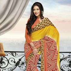 Yellow and Peach Faux Chiffon Saree with Blouse