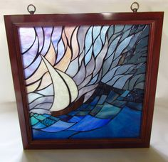 Stained Glass Mosaic Artwork - Sail Boat- 18 X 18 inches - Wooden frame - By Glass artist Seba. $395.00, via Etsy.