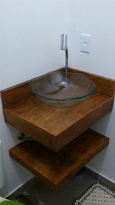 Bancadas Em Madeira De Demolição Banheiro Lavabo Peroba Rosa - R$ 160,00 no MercadoLivre