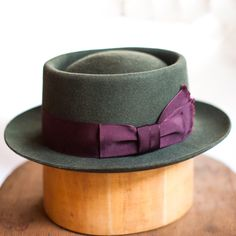 Another view of the open telescope Pork Pie I made for myself in 100% pure beaver felt.  I used a vintage hatting ribbon on this one, it's pretty lush.  A fun hat to wear and resilient to our Vancouver rain!