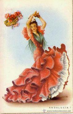 DANÇA FLAMENCA Chicano Love, Chicano Art, Spanish Dancer, Spanish Art, Vintage Cards, Vintage Postcards, Sweet Drawings, Girl Drawings, Ariana Grande Drawings