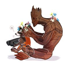 Guardians Of The Galaxy Rocket Raccoon With Groot Action