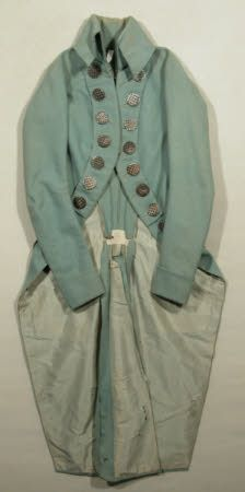 Snowshill Collection - Frock coat 1790-1800.  Teal with giant shiny buttons!