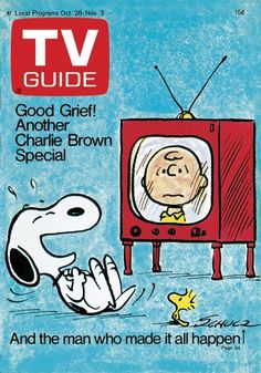 TV Guide October 28, 1972 -  Snoopy, Charlie Brown and Woodstock.  Illustration by Charles Schultz.