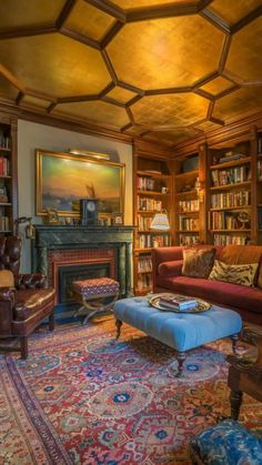 Home Library Rooms, Cozy Library, World Library, Home Library Design, Dream Library, Home Libraries, Home Design, Interior Design, Library Ideas