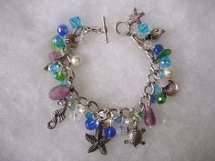 A Day at the Beach.  Beautiful Crystal Beaded, Beach inspired, Bracelet by GreenInspiredDesigns, $22.00