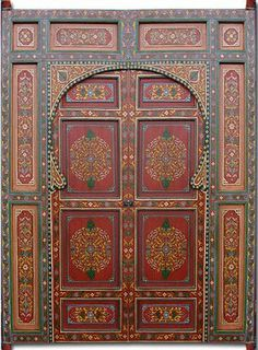 Moroccan Painted Door - Berber Style Large hand painted double door featuring 2 extra large doors and two inside doors within a large arched entryway. Makes a great wall mounted headboard for a queen or king size bed